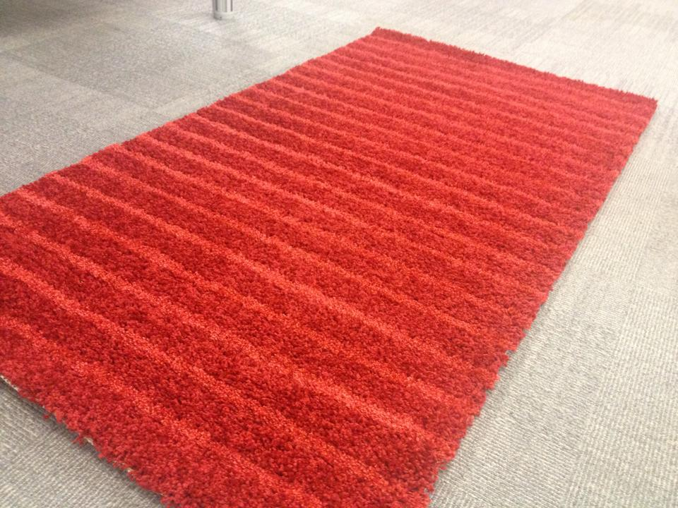 Win A Carpetright Stripped Shaggy Red Rug