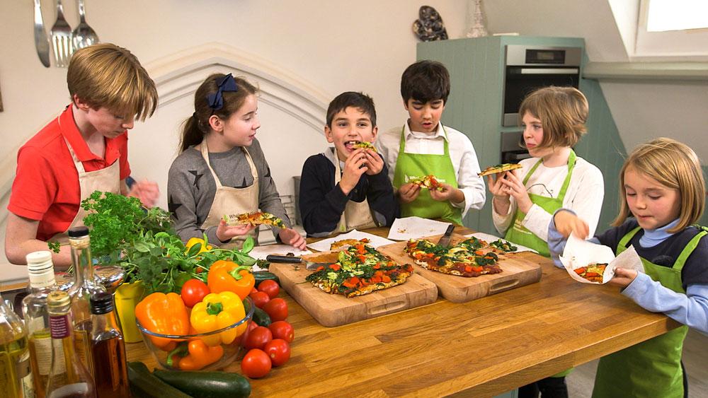 Children making food